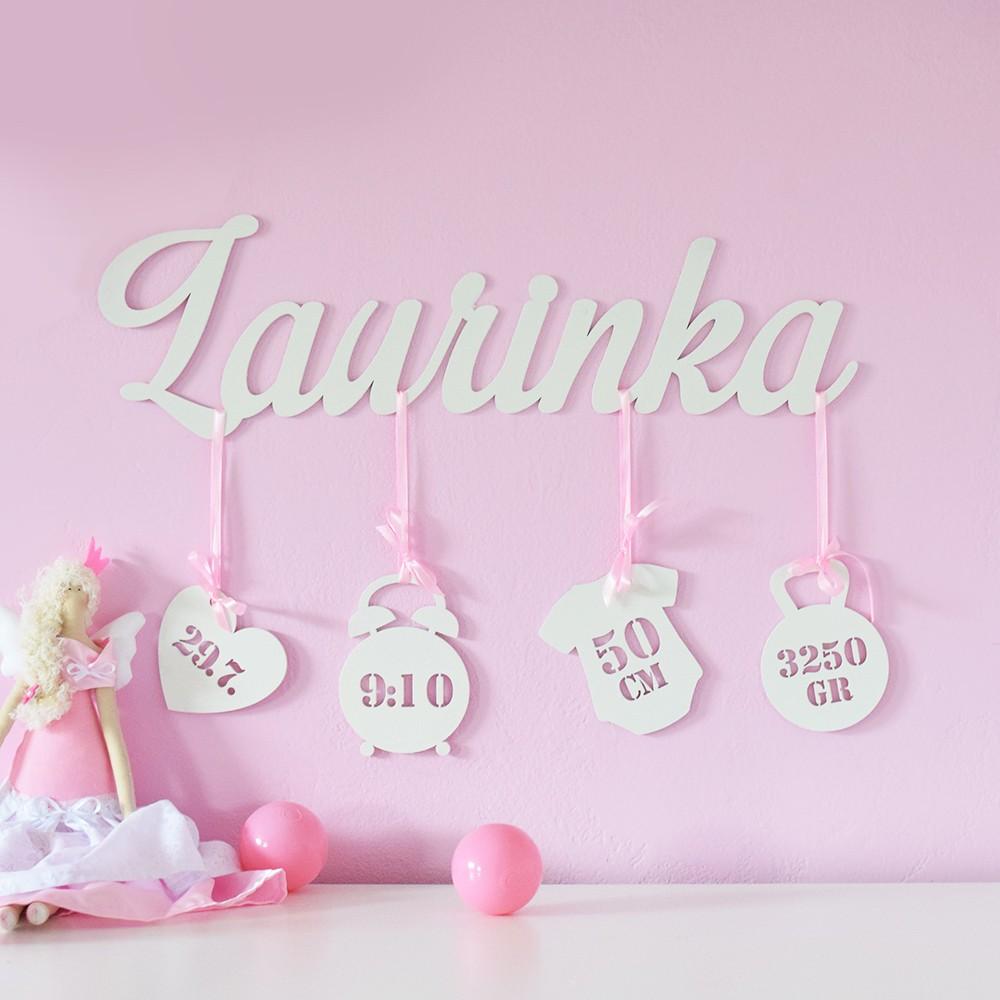 HOUSEDECOR Dřevěná dekorace - Nejkrásnější den :) Holky - Růžová Barva