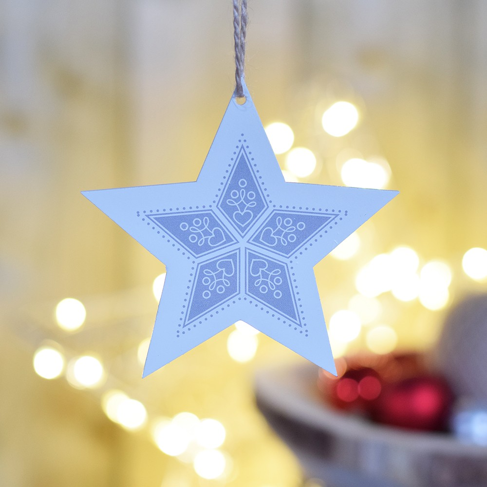 HOUSEDECOR Hvězda se vzorem stříbrná