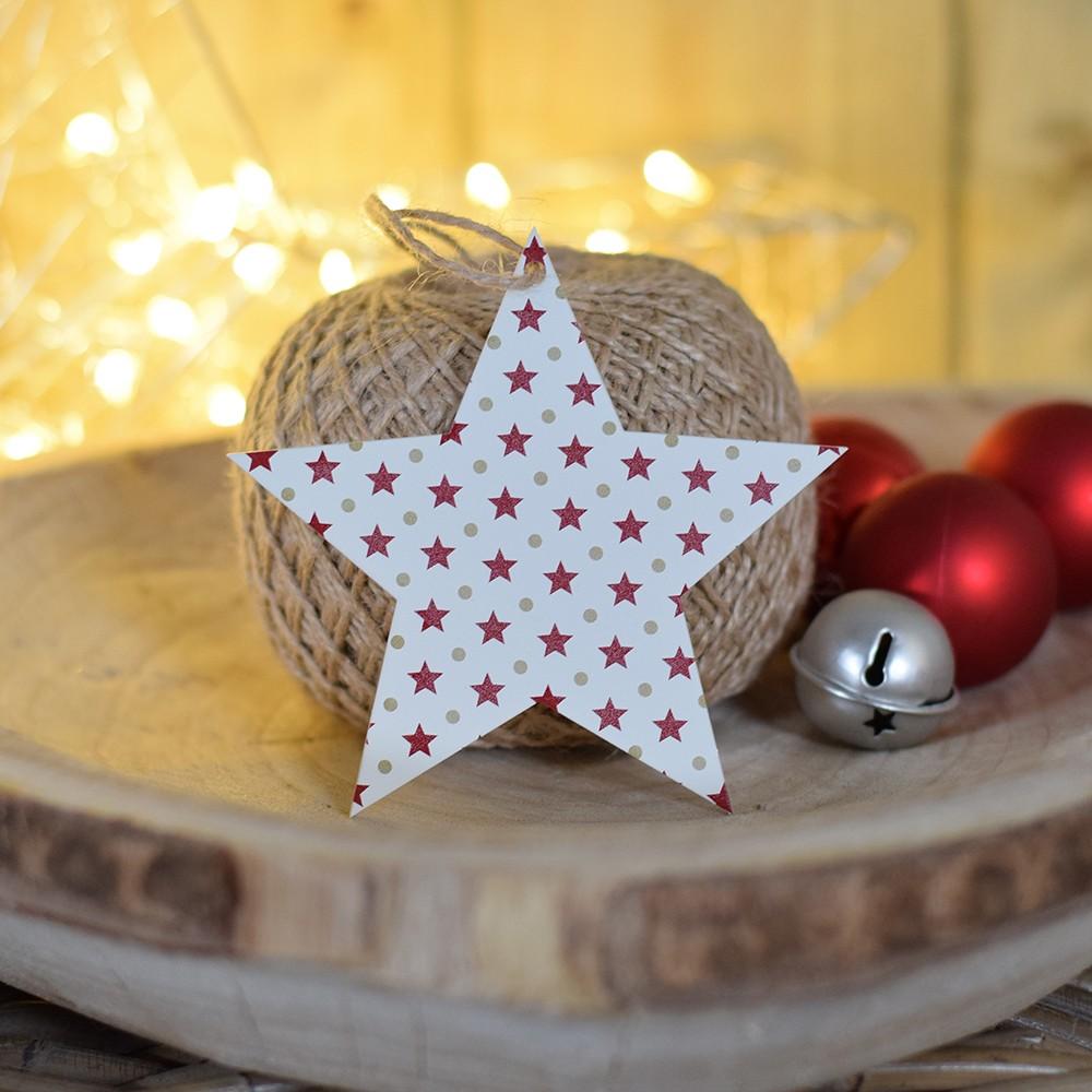 HOUSEDECOR Hvězda se vzorem hvězdiček - bílá