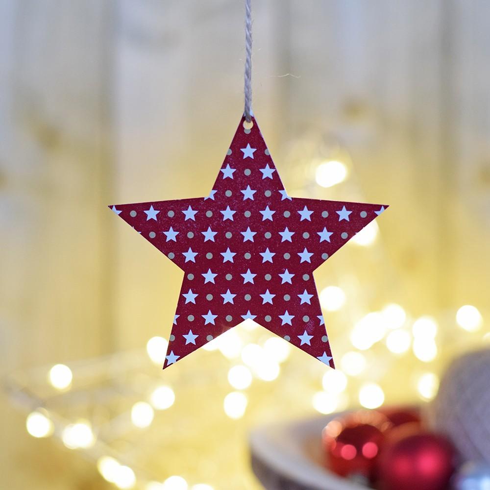 HOUSEDECOR Hvězda se vzorem hvězdiček - červená