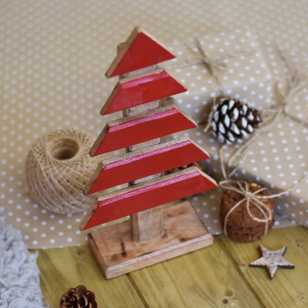 Dřevěný stromek - Stein - červená