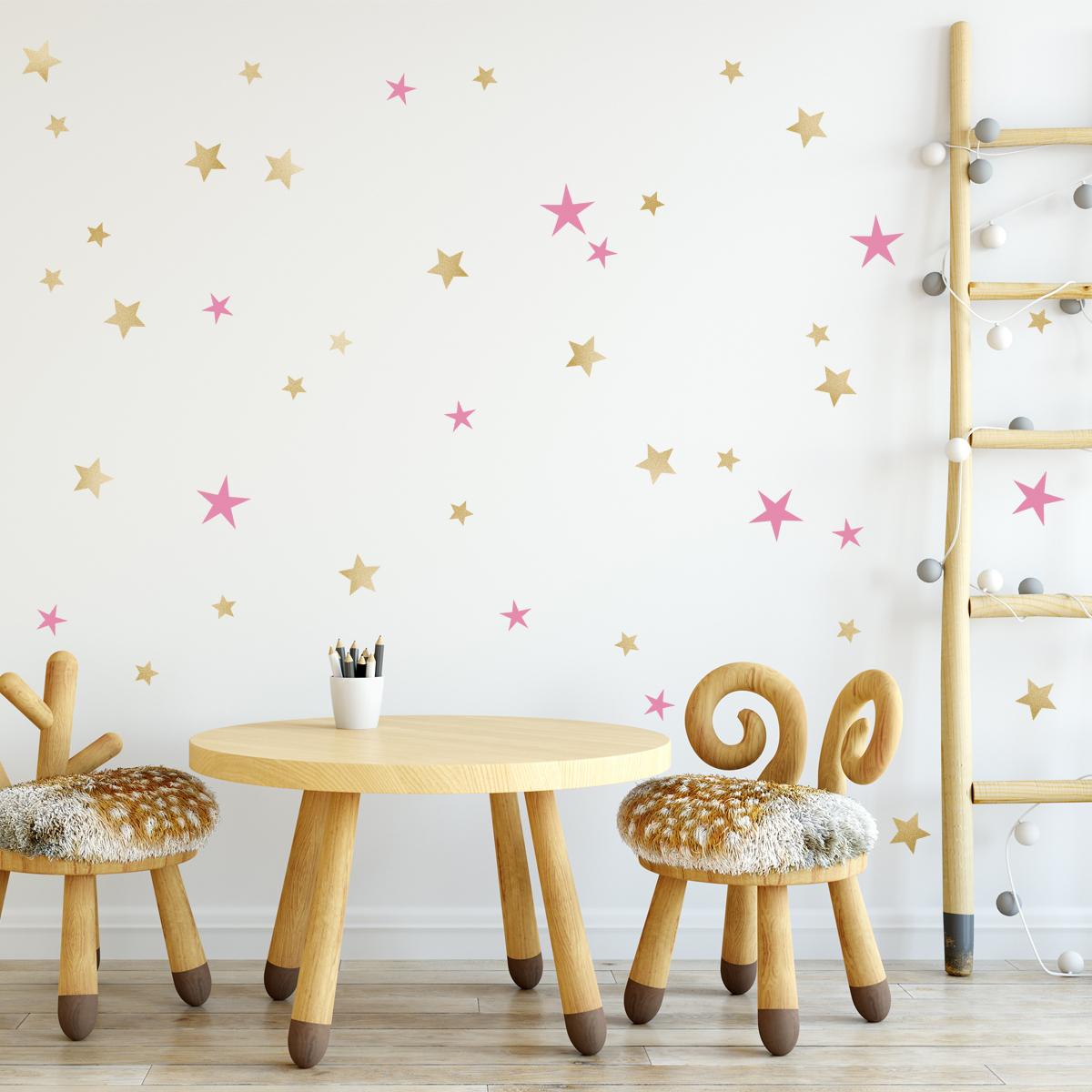 HOUSEDECOR Samolepka na zeď Hvězdy zlaté a růžové
