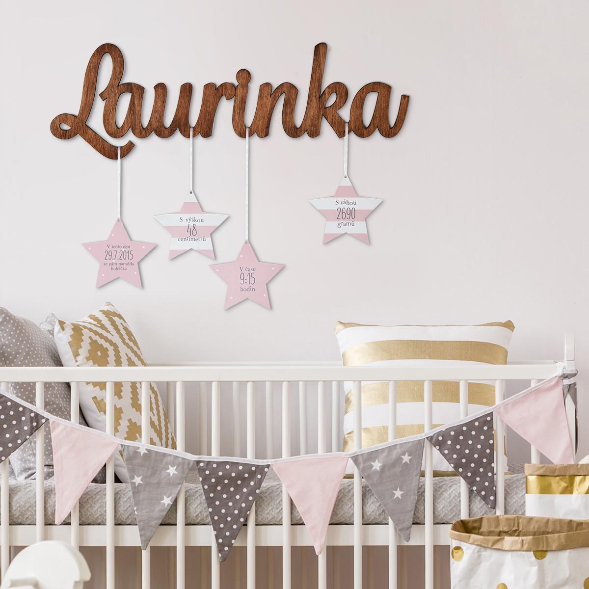 HOUSEDECOR Dětské jméno s hvězdami (holčička)