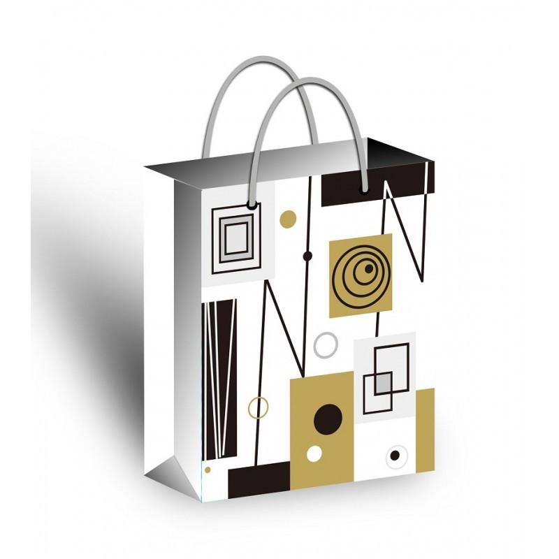 Dárková taška velká L - bílá se vzorem 2
