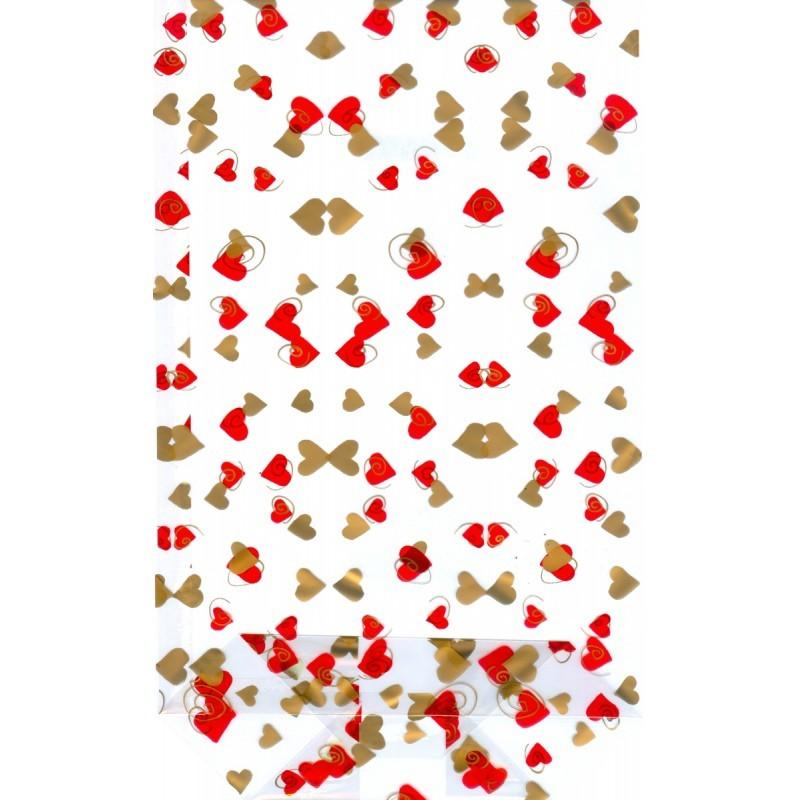 Sáček celofánový 18x30 cm Srdíčka