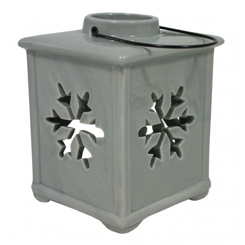 Lucerna keramická závěsná s vločkou - šedá