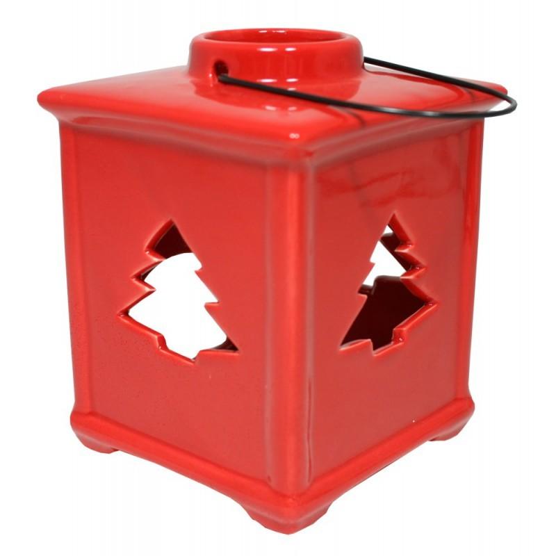 Lucerna keramická závěsná se stromkem - červená