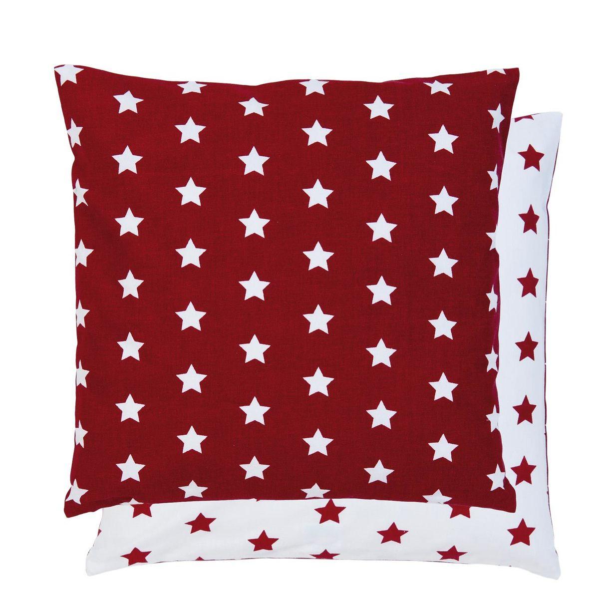 Povlak na polštář 40*40 s hvězdami - červená
