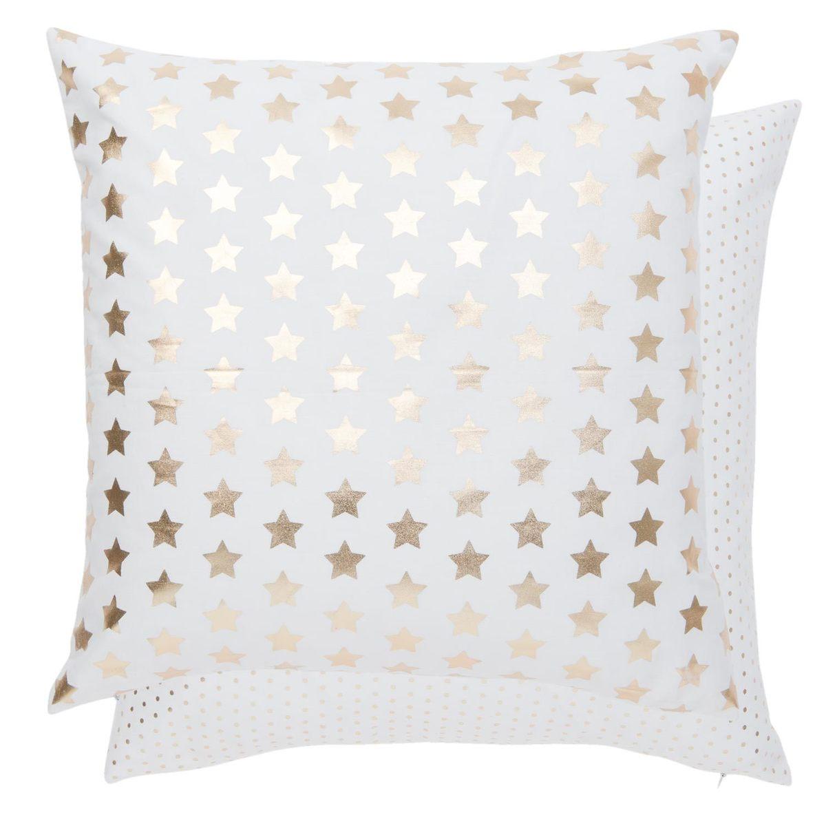 Povlak n polštář zlaté hvězdy - bílý
