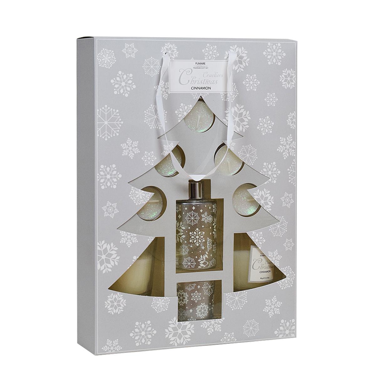 Dárkové balení - Difuzér se svíčkami - skořice - stříbrná