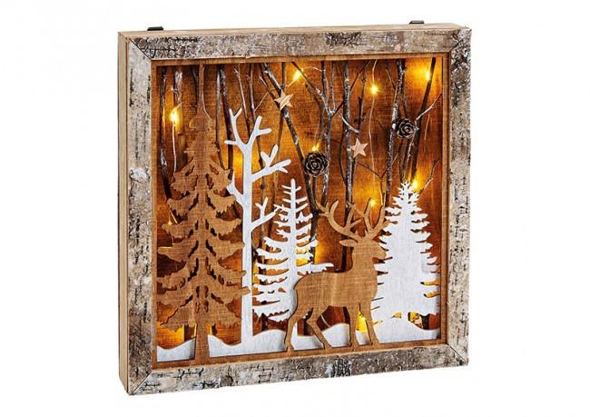 Dřevěný obrázek - zimní les