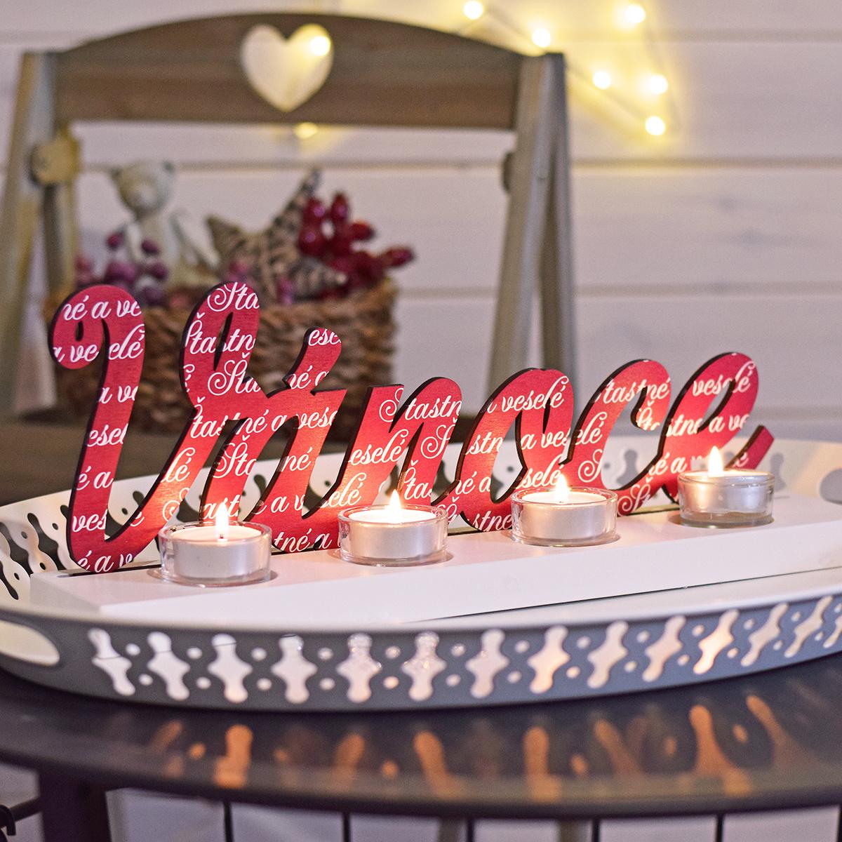 HOUSEDECOR Vánoce - adventní svícen - červená