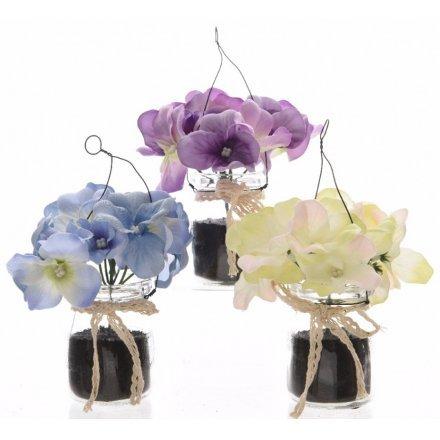 Hydrangea ve skleněných nádobách Bílá barva