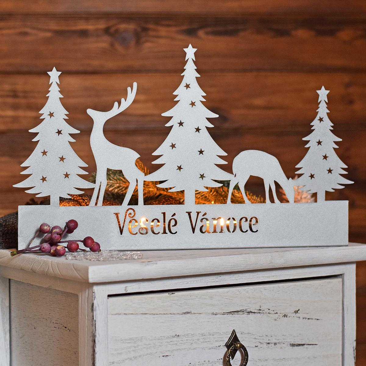 HOUSEDECOR Stříbrný adventní svícen - Veselé Vánoce