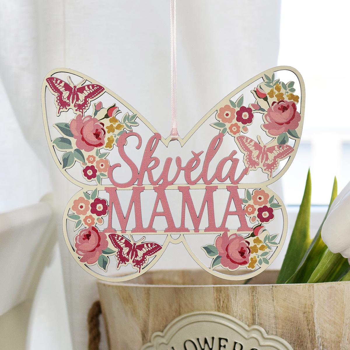 HOUSEDECOR Motýl s květy pro maminku