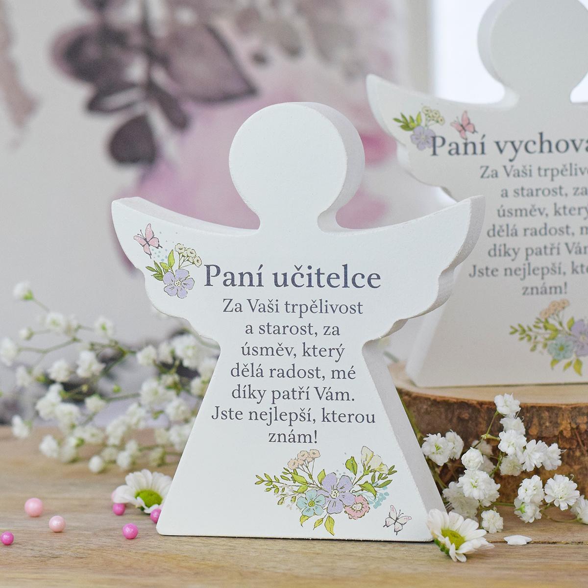 HOUSEDECOR Dárkový anděl - Paní učitelce (s květinami)