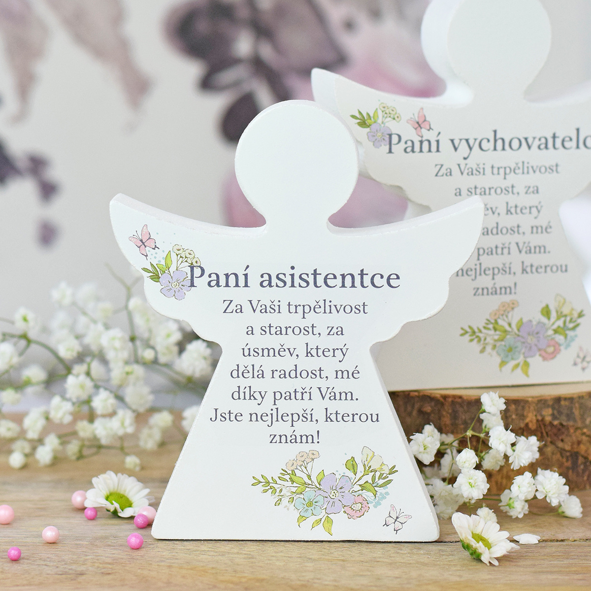 HOUSEDECOR Dárkový anděl - Paní asistentce (s květinami)