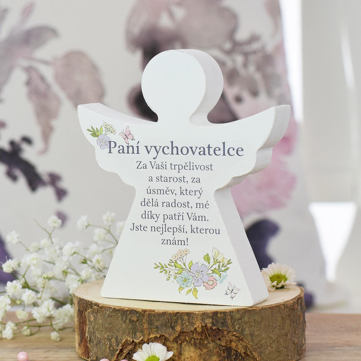HOUSEDECOR Dárkový anděl - Paní vychovatelce (s květinami)