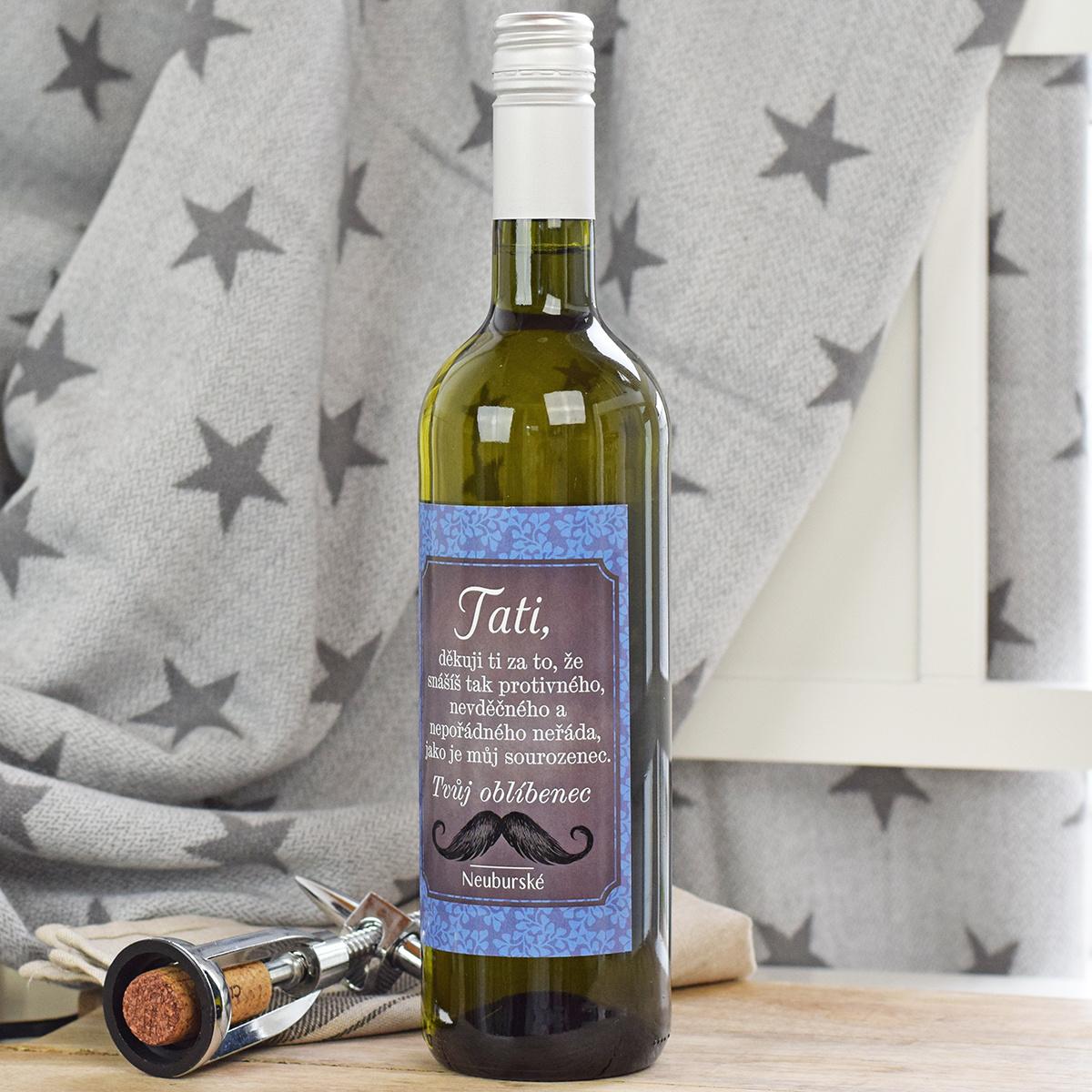 HOUSEDECOR Dárkové víno pro tatínka - bílé (Tvůj oblíbenec)