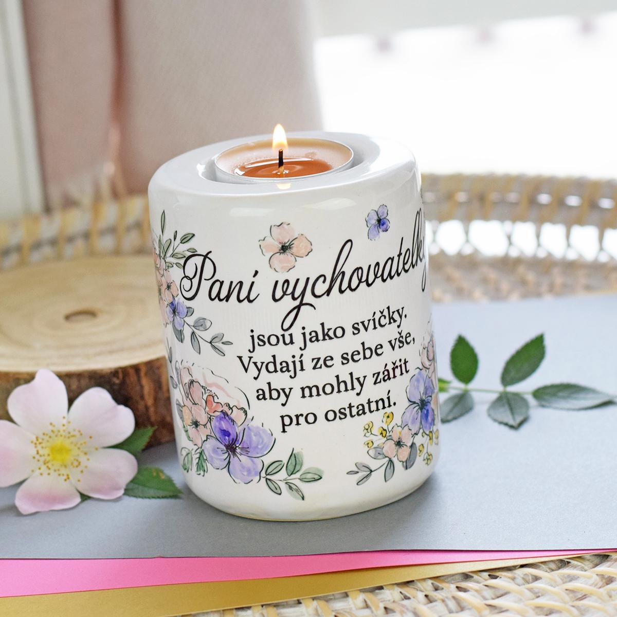 HOUSEDECOR Květinový svícen - pro paní vychovatelku