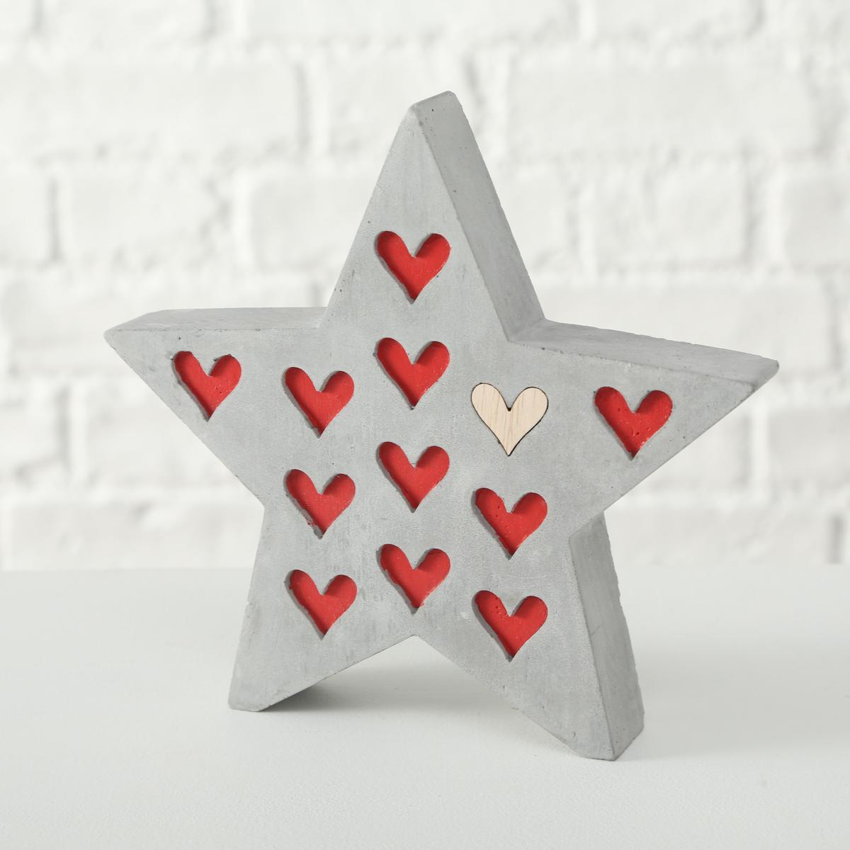 Dekorativní hvězda - Lola srdce bílé motiv