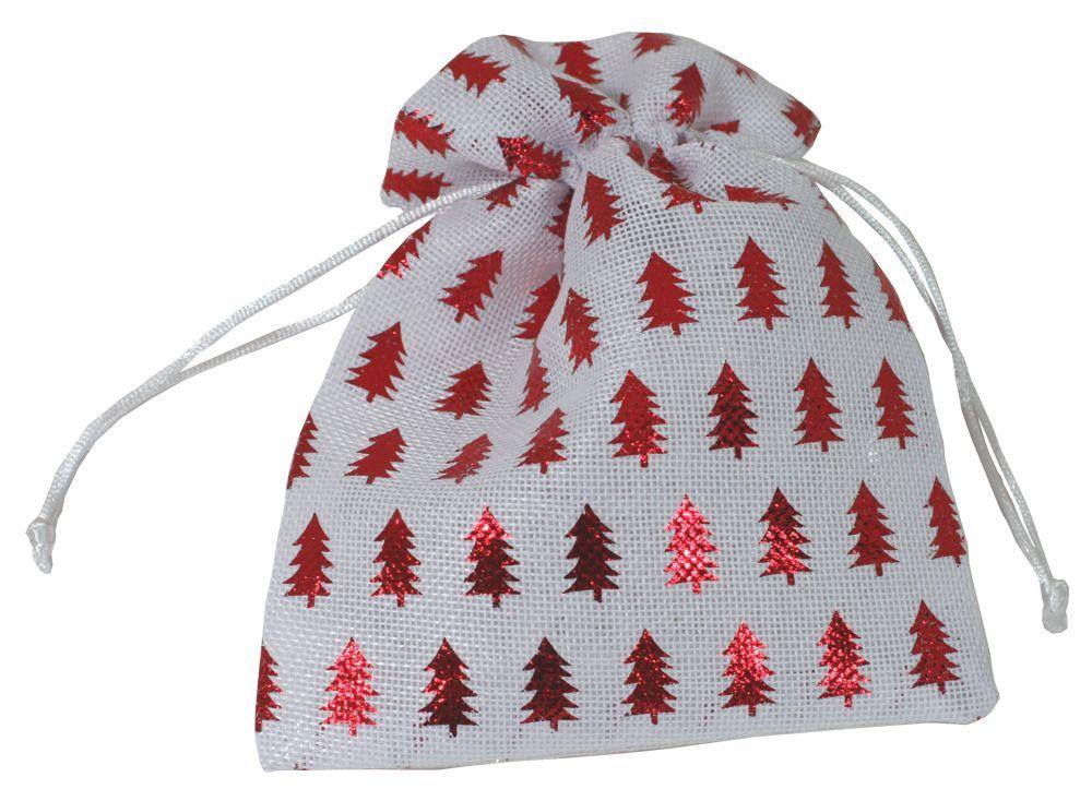 Látkový sáček - červené stromečky