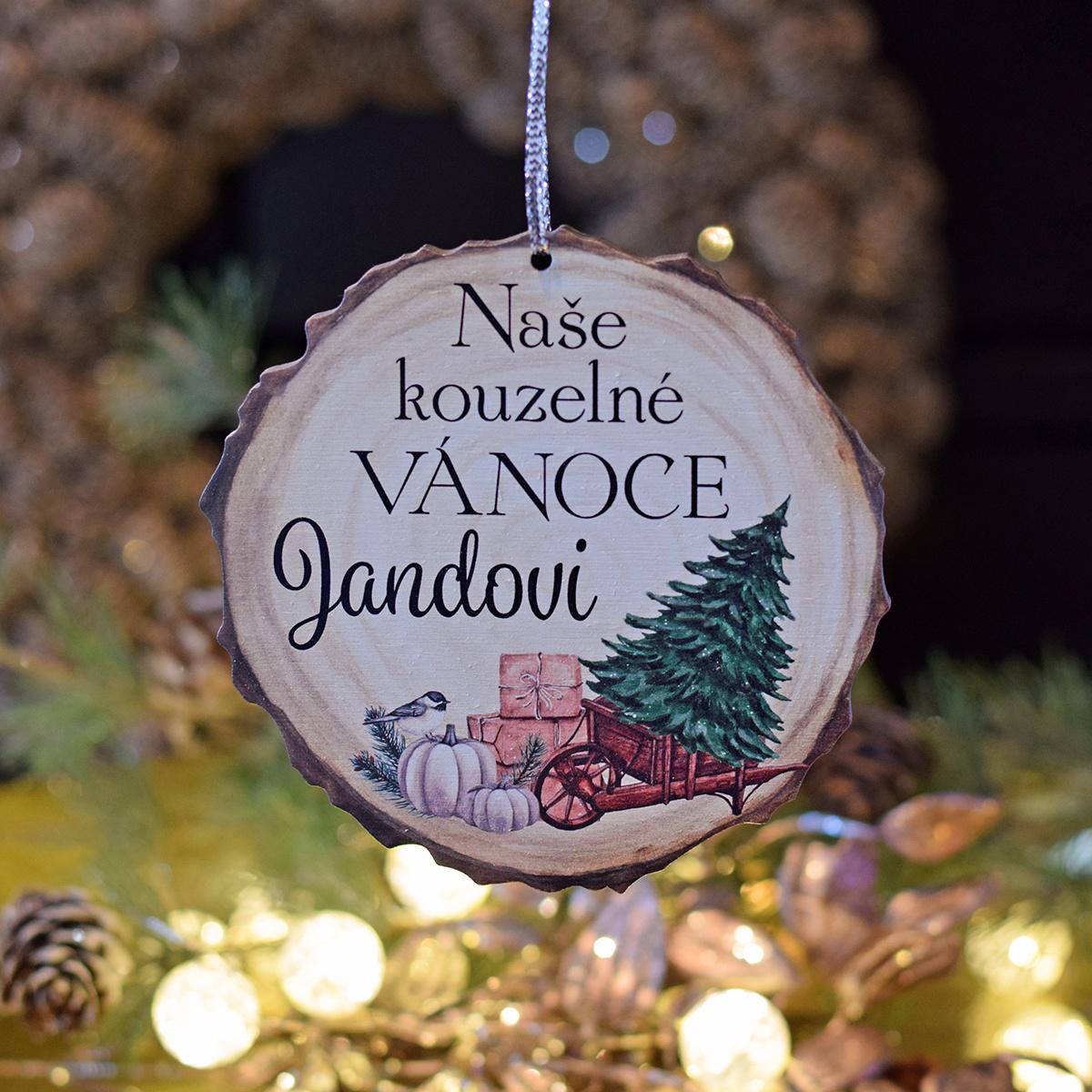 """HOUSEDECOR Vánoční dřevěná ozdoba - """"Naše kouzelné Vánoce."""""""