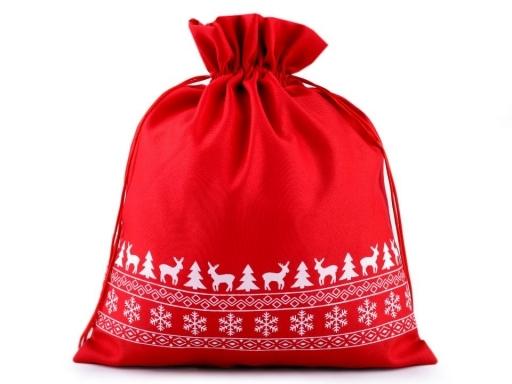 Dárkový pytlík - červený - Vánoční vzor