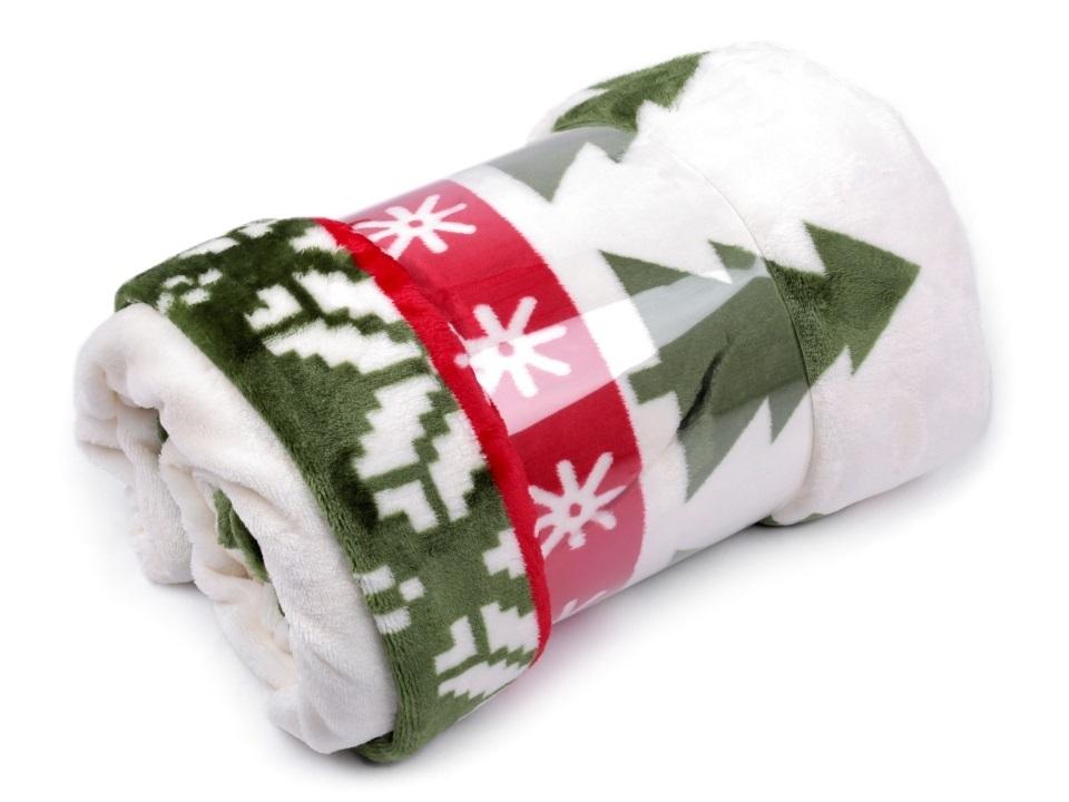 Fleecová deka - bílo/zelená