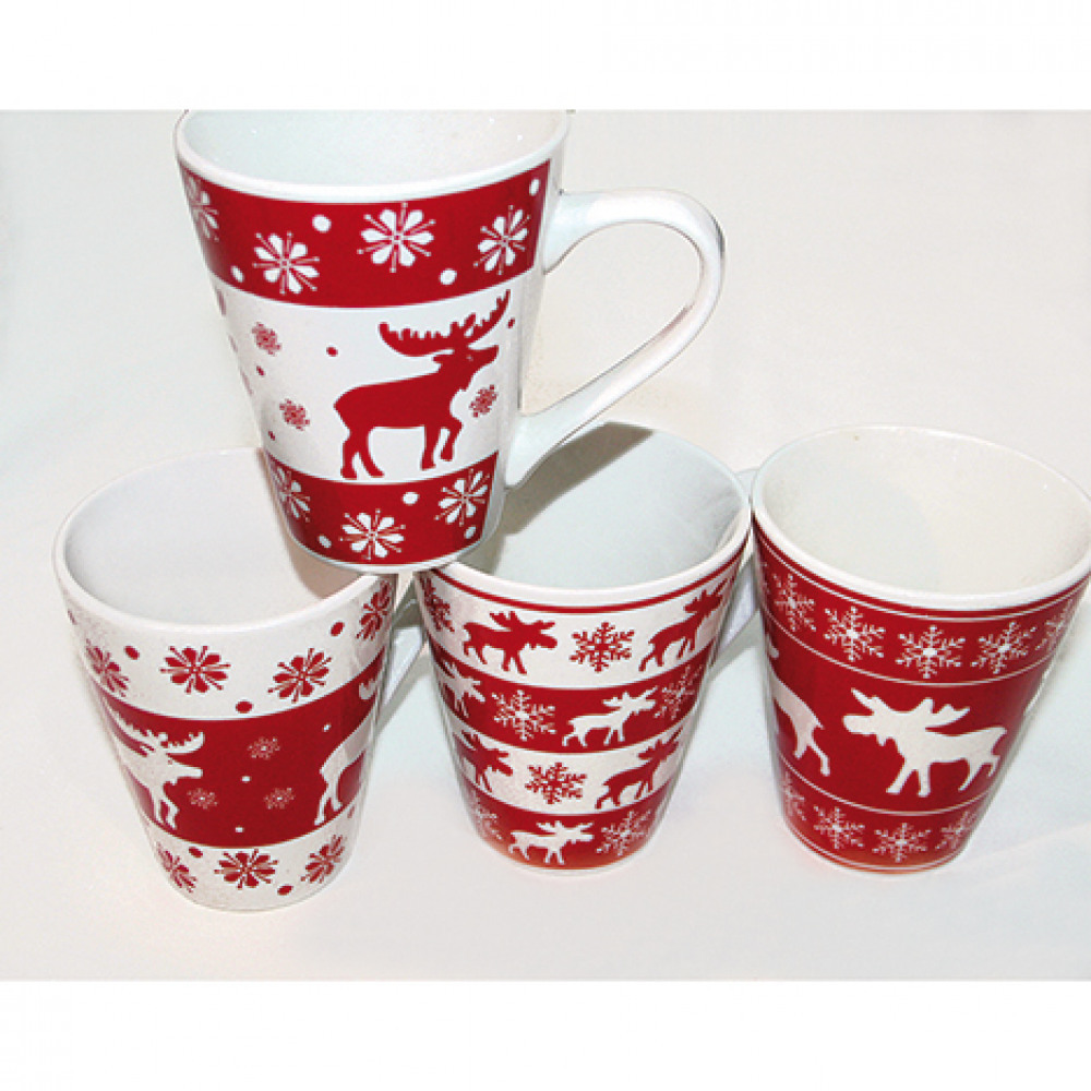 Vánoční hrníčky - 4 motivy červený Barva