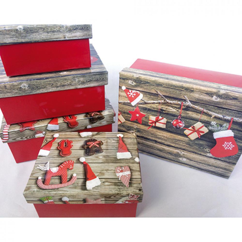 Dárková krabice - Vánoční - sada obsahuje 6 ks