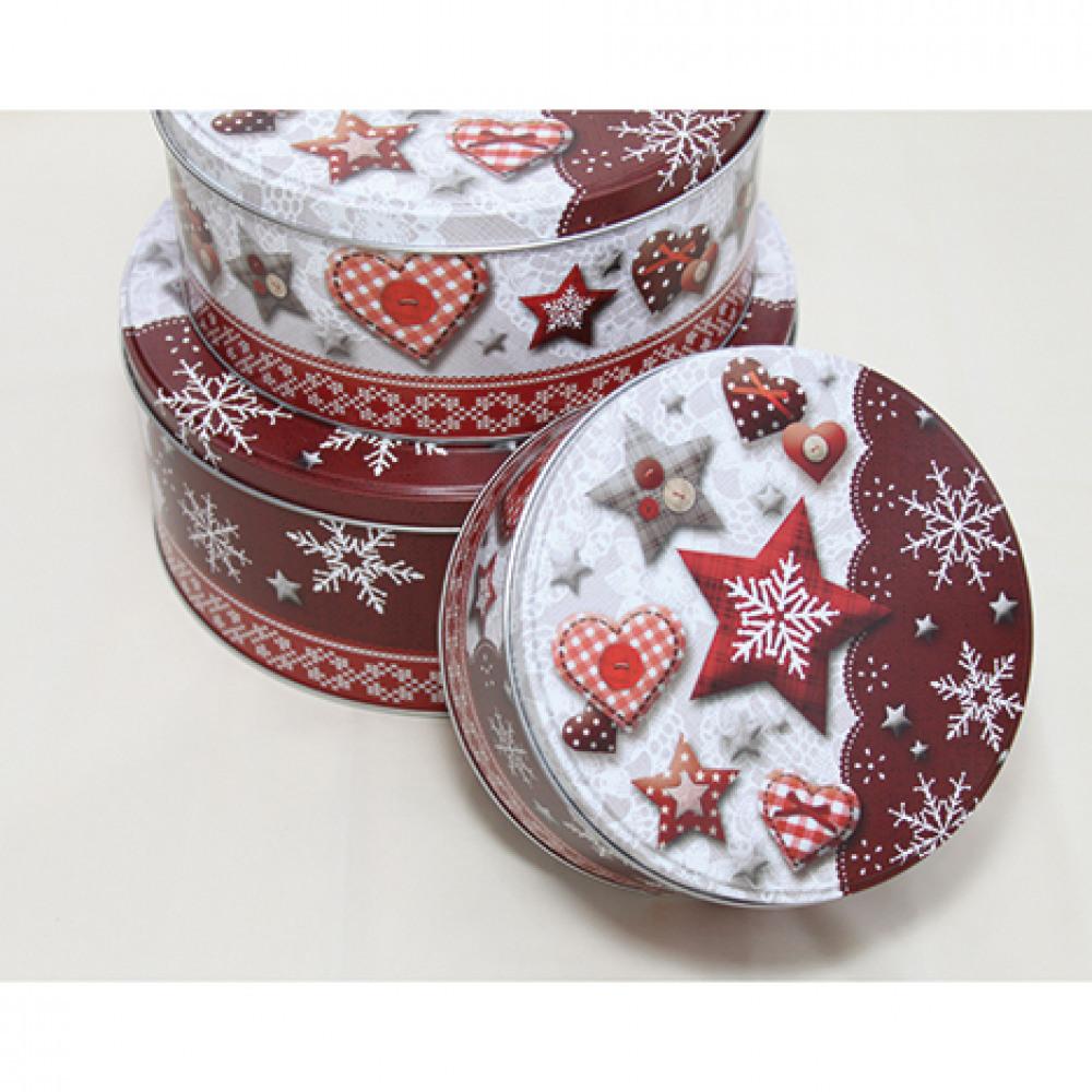 Set krabiček na sušenky - 3 ks - červený