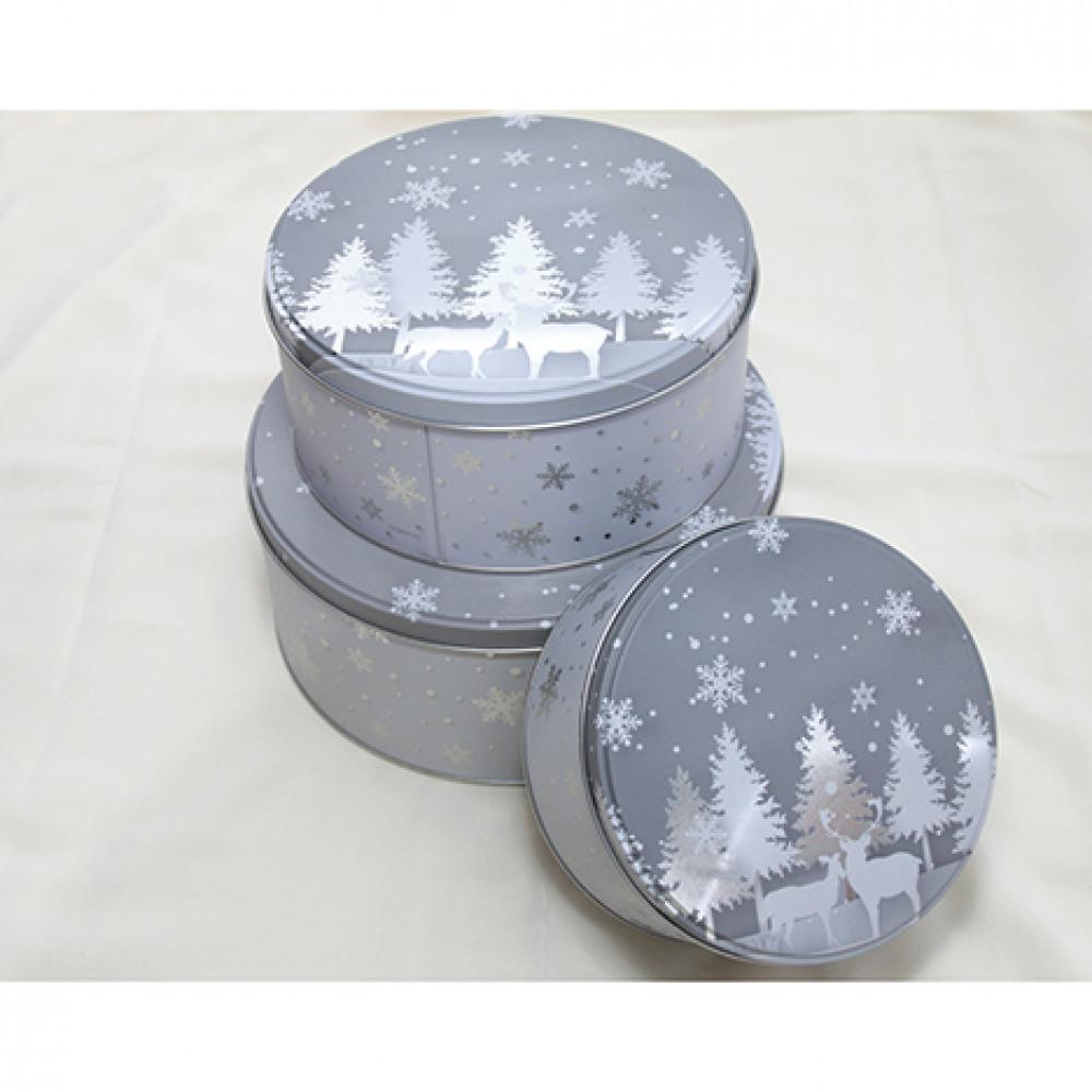 Set krabiček na sušenky - 3 ks - šedý - zimní krajina