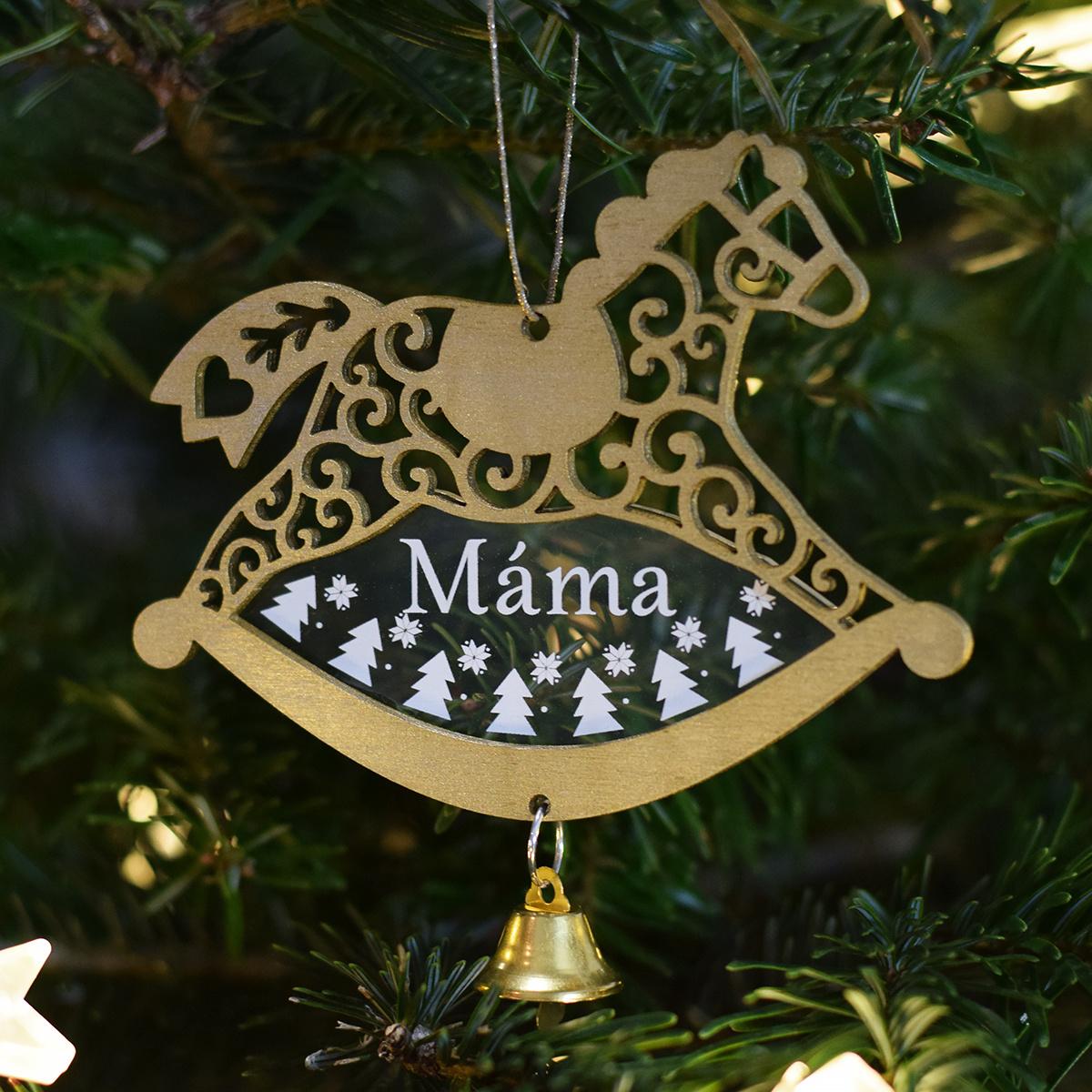 HOUSEDECOR Zlatý koník se zvonečkem - Máma