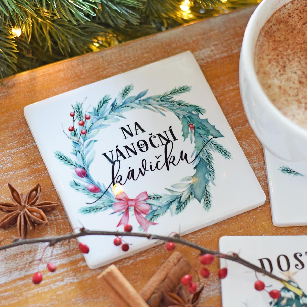 HOUSEDECOR Keramický podtácek - Vánoční kávička