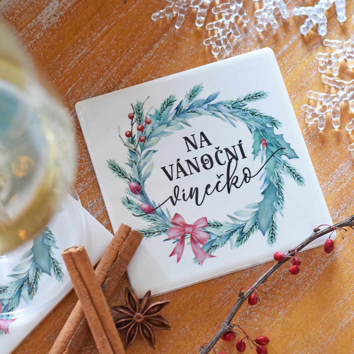 HOUSEDECOR Keramický podtácek - Vánoční vínečko