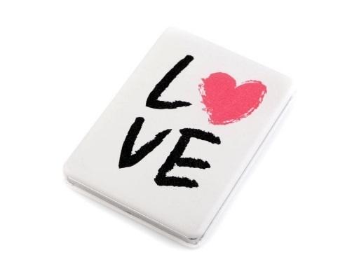 Zrcátko Love - bílá s černým nápisem