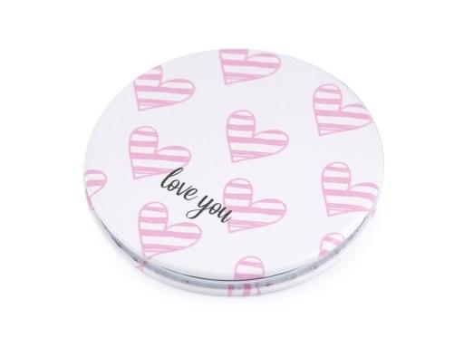Kosmetické zrcátko - My love - bílo-růžové