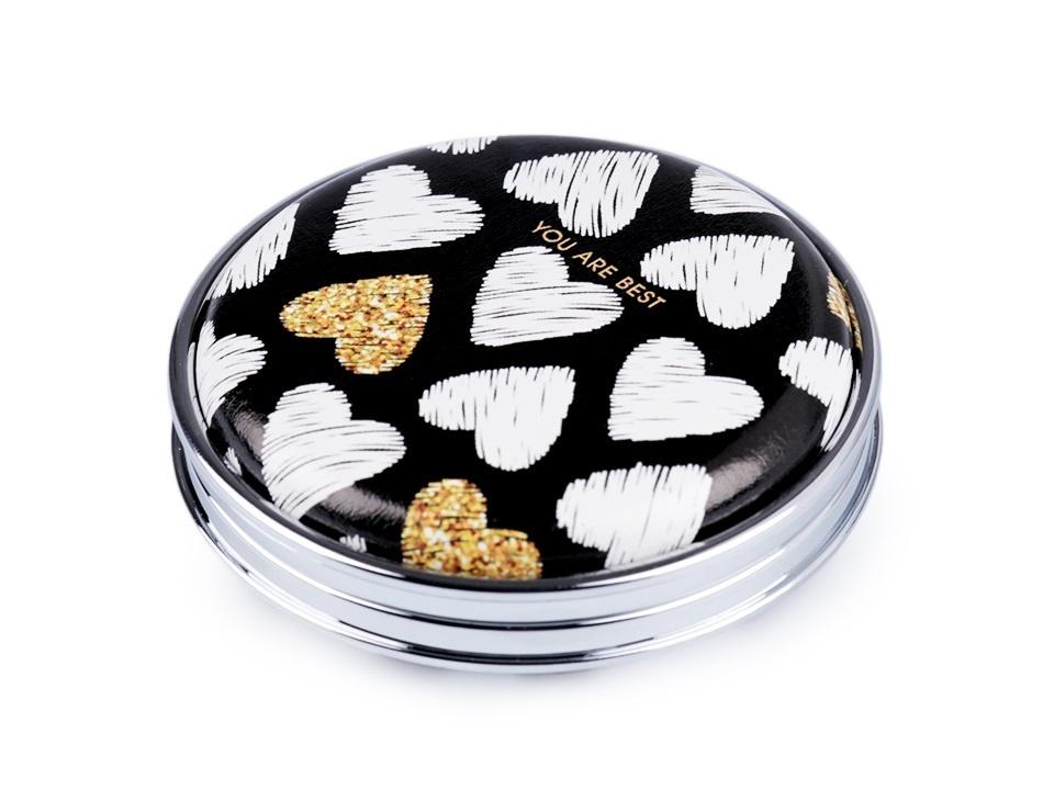 Kosmetické zrcátko - Bílo-zlatá srdce