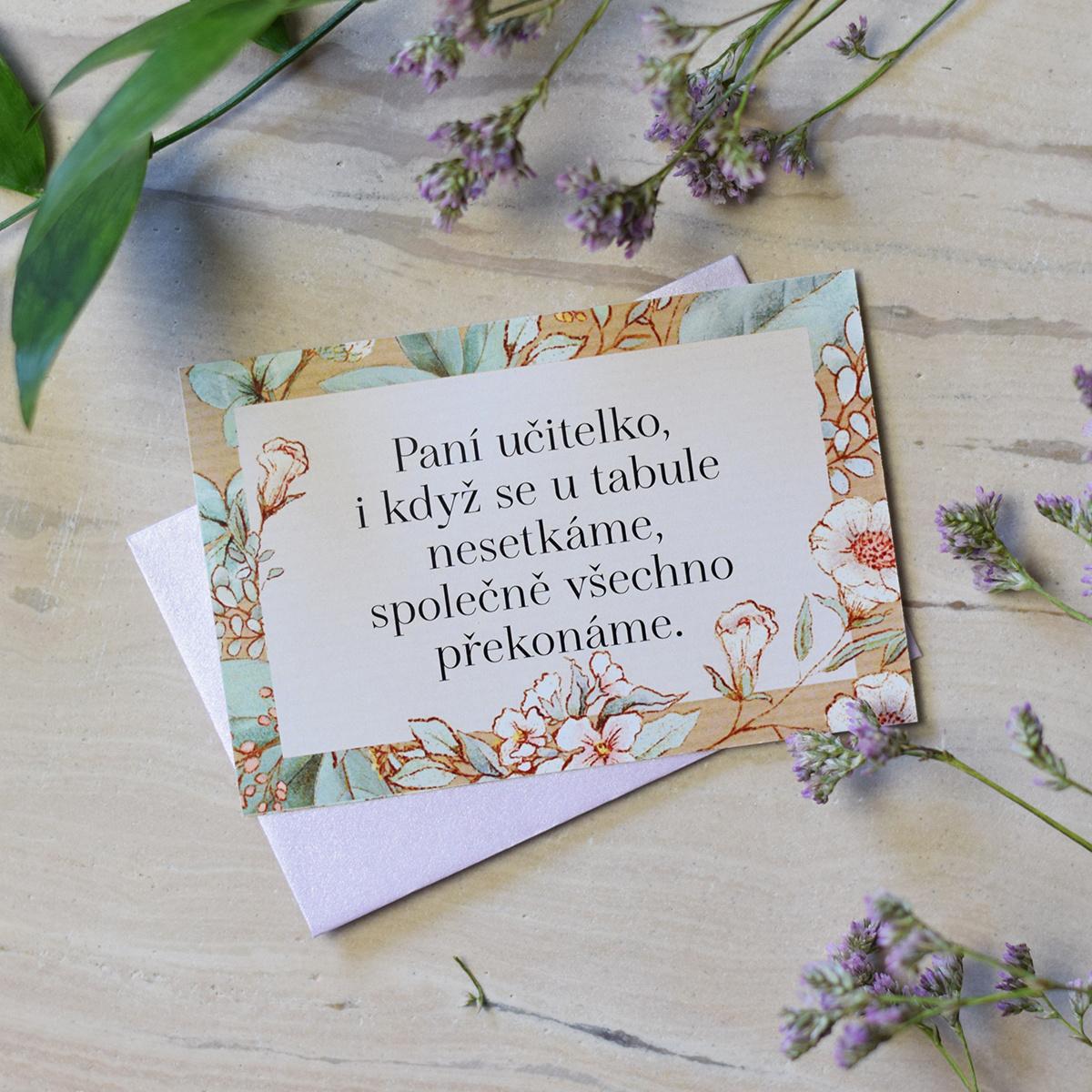 HOUSEDECOR Dárková kartička s obálkou pro paní učitelku.