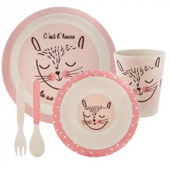 Bambusový set nádobí (růžová)