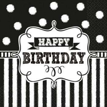 Ubrousky - Happy Birthday - černobílé