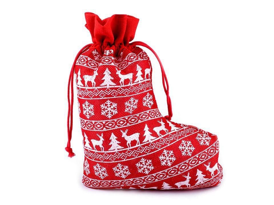Vánoční punčocha - červená
