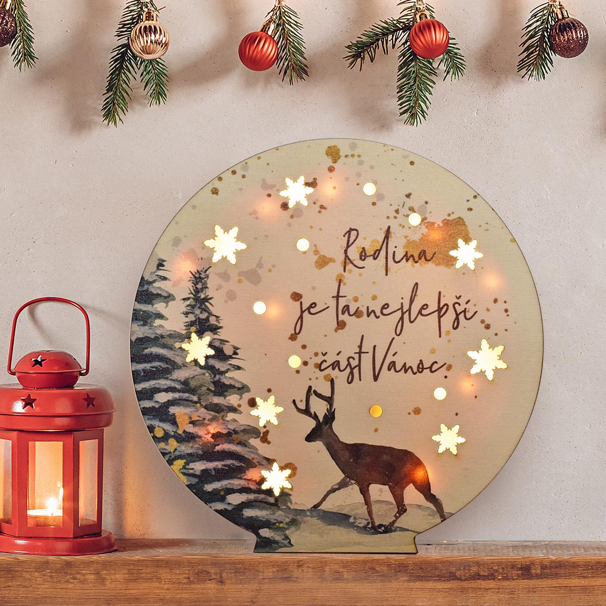 """HOUSEDECOR LED dekorace koule - """"Nejlepší část Vánoc."""""""