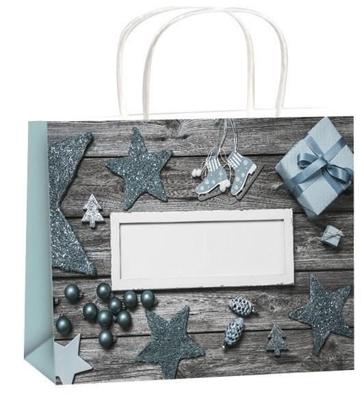 Dárková taška - šedá - Vánoční motiv