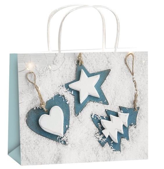 Dárková taška - bílá - Vánoční motiv