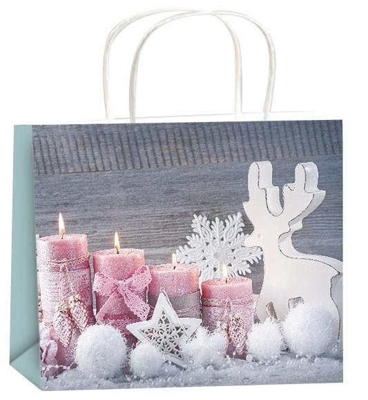 Dárková taška - růžové svíčky
