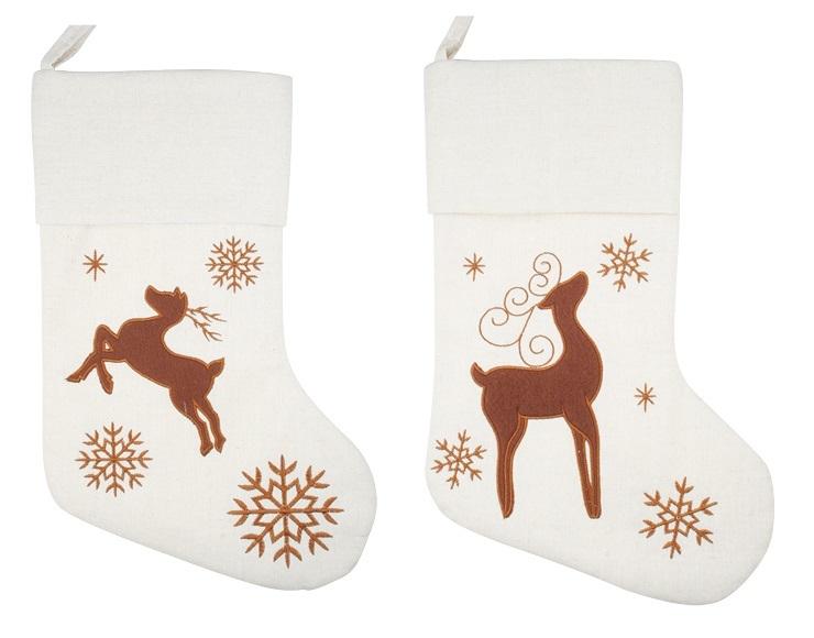 Plátěná punčocha - 2 motivy na výběr bílá s jelenem barva