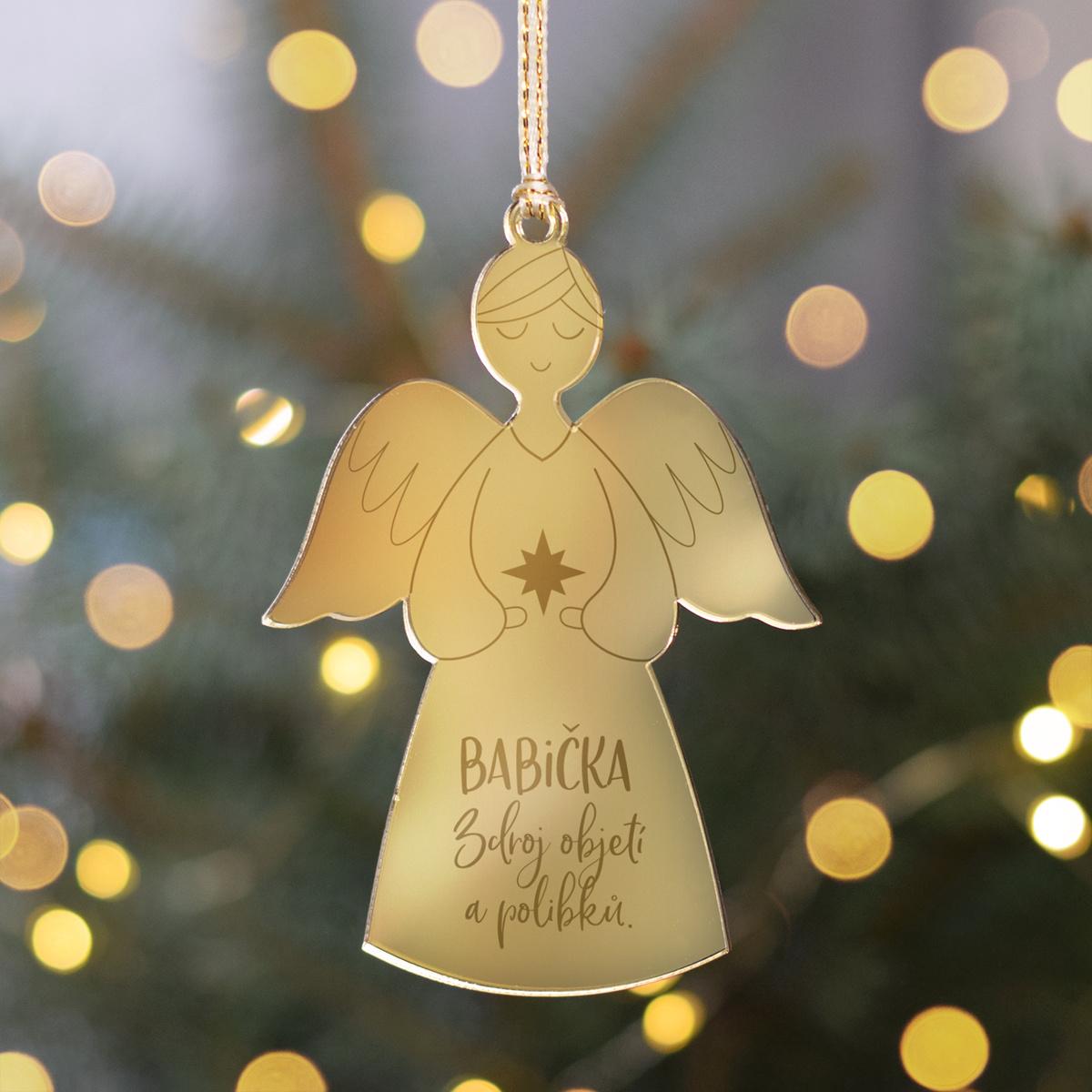 HOUSEDECOR Zlatá ozdoba anděl - Babička