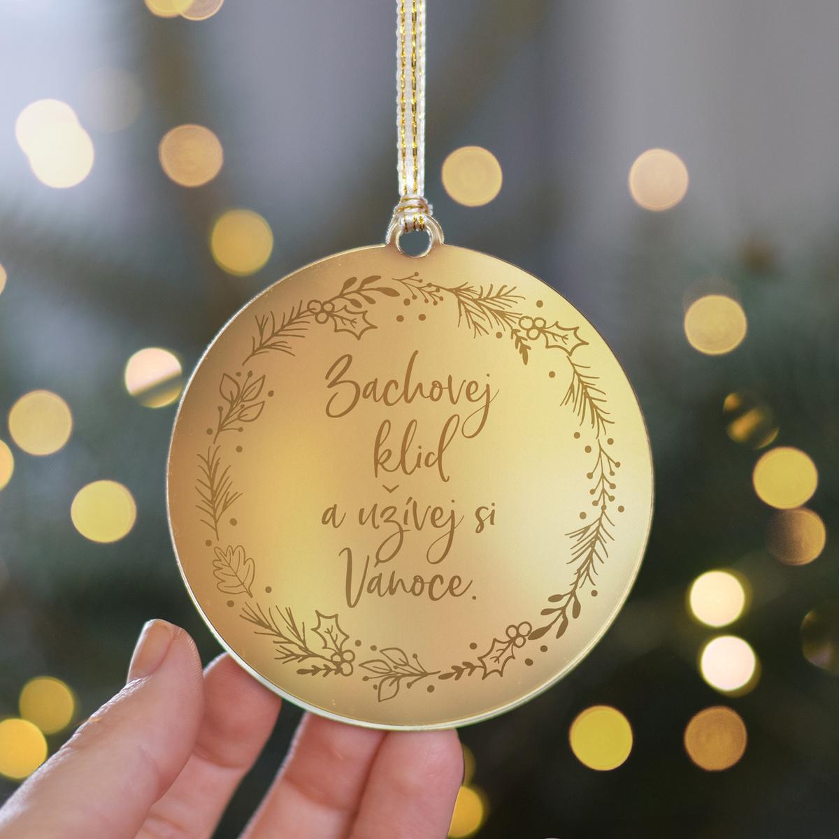 HOUSEDECOR Zlatá ozdoba - Užívej si Vánoce